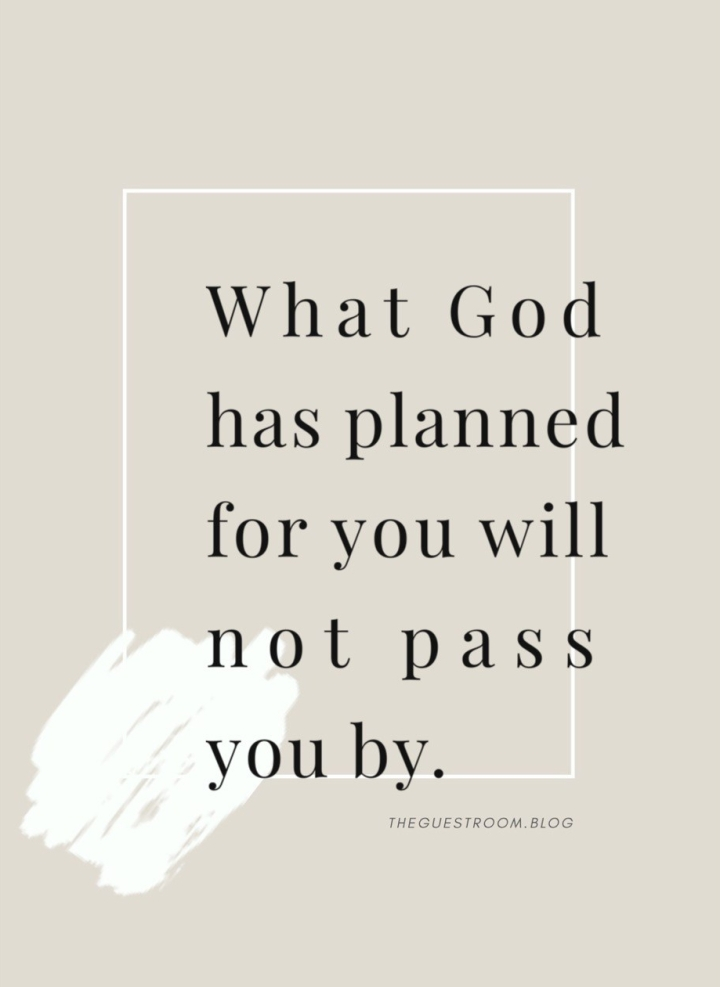 """""""What God has planned for you will not pass you by."""" From Lauren Carter @laurenoelcarter and TheGuestRoom.blog"""