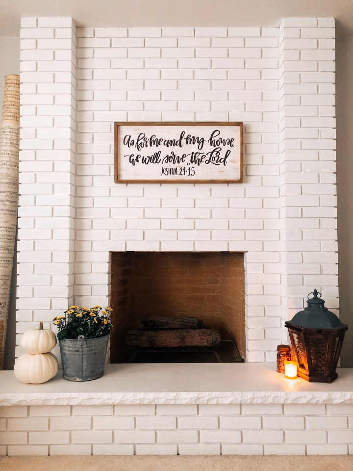 Simple fall fireplace decor