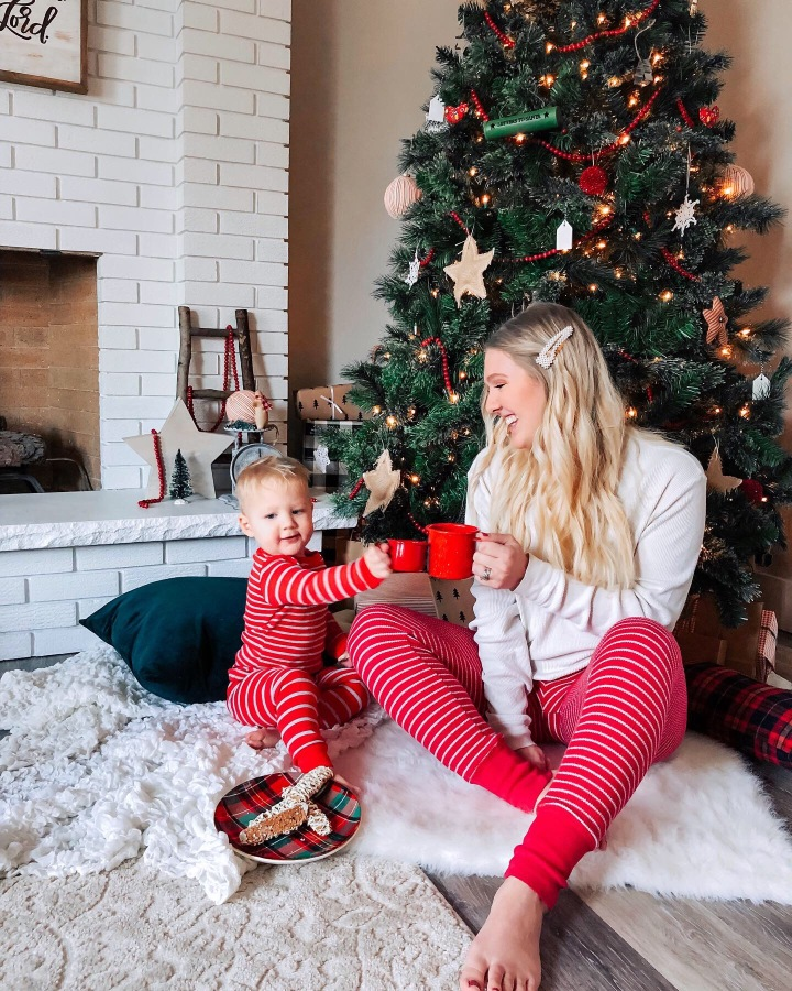 Mom and son photo - indoor picnic of milk and cookies by the Christmas tree (toddler and mom, family picture idea)